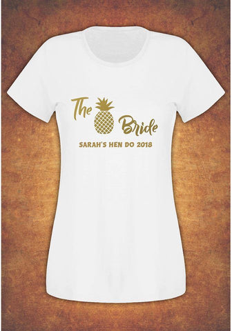 Hen Do Party Bride Tribe  Personalised T-shirt Ladies Female Pineapple
