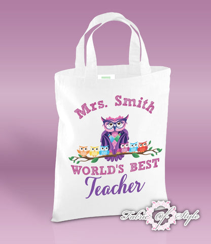 PERSONALISED Tote Bag Thank You Teacher School Gift  World's Best White
