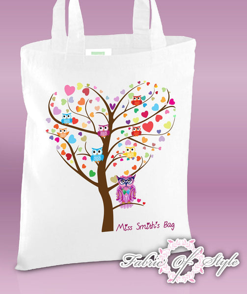 PERSONALISED  Tote Bag Thank You Teacher School Gift  Heart Tree Design White