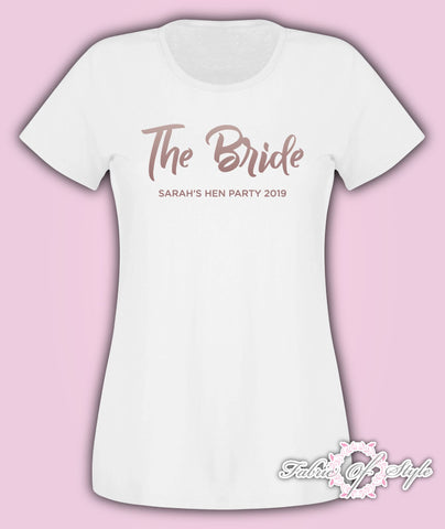 Rose Gold Team Bride Hen Do Party Tribe Personalised T-shirt Ladies