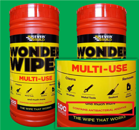 Everbuild Wonder 100 Wipes Trade Tub - Anti-Bacterial Cleaning Wipes Free Delivery
