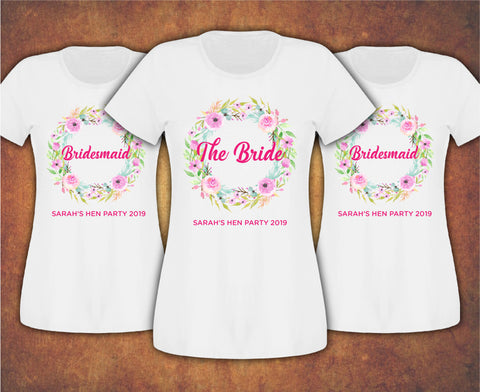 Wreath Personalised Floral Hen Do Party Bridesmaid Bride  T-shirt Ladies Female