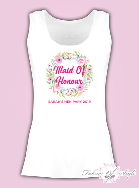 Wreath Vest Tank Top Hen Do Party Bride Tribe Wedding Personalised T-shirt Ladies Female