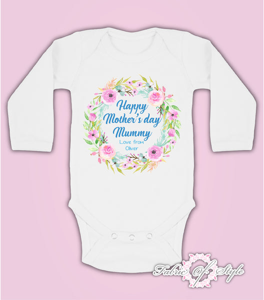 Personalised Wreath First Mothers Day Baby Kids 2020 Body Vest long sleeve Girl