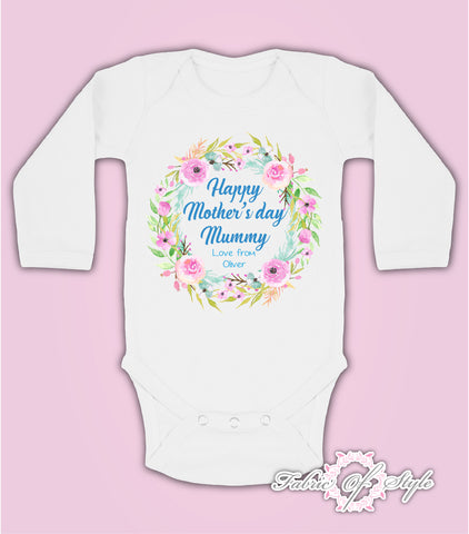 Personalised Wreath First Mothers Day Baby Kids 2020 Body Vest long sleeve Boy