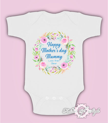 Personalised Wreath First Mothers Day Baby Kids 2020 Body Suit Vest Boy