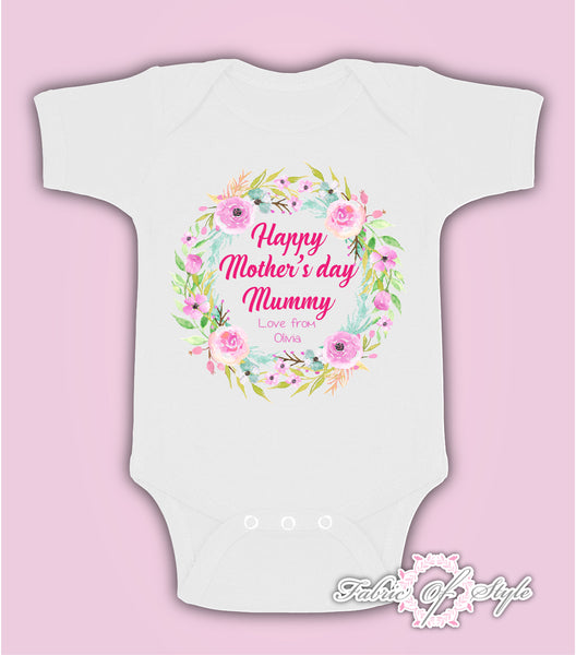 Personalised Wreath First Mothers Day Baby Kids 2020 Body Suit Vest Girl