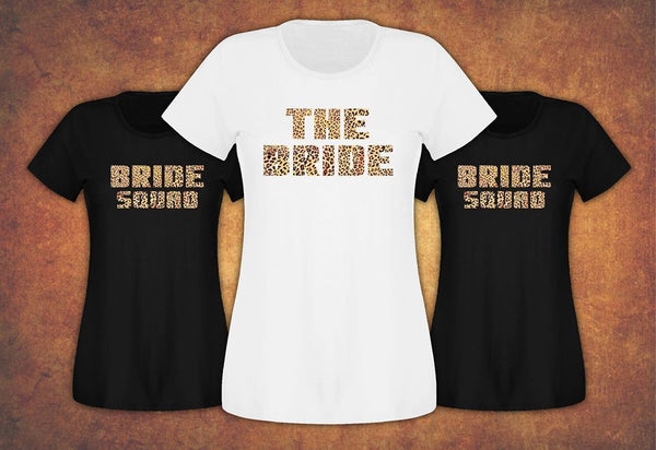 Bride Tribe Squad Fast and Free Hen Do Party T-shirt Ladies Female Leopard