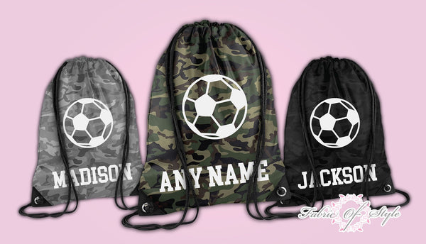 Personalised Footbal Camo PE Kit School Boys Girls Kids Backpack Drawstring Bag