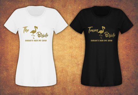 Hen Do Party Bride Tribe  Personalised T-shirt Ladies Female Flamingo Team