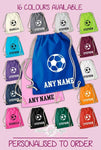 Personalised Any Name Football Back To Drawstring Boy Bag PE GYM School Kids