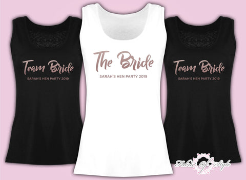 Vest Tank Top Team Bride Hen Do Party Bride Tribe Wedding  Personalised T-shirt Ladies Female Rose Gold