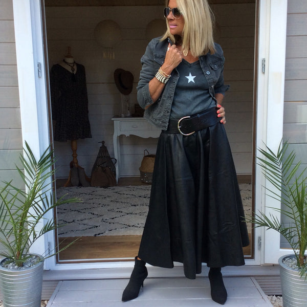 Olivia Faux Leather Skirt