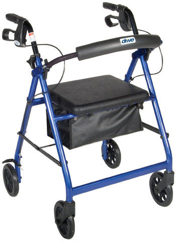 Rollator Walker - Fold-Up & Removable Back Support & Padded Seat