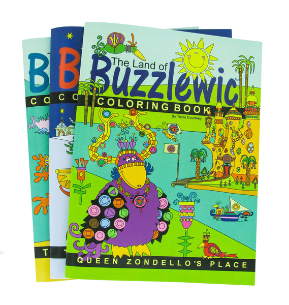 Coloring Books for Children The Land of Buzzlewic - 3 pc Set