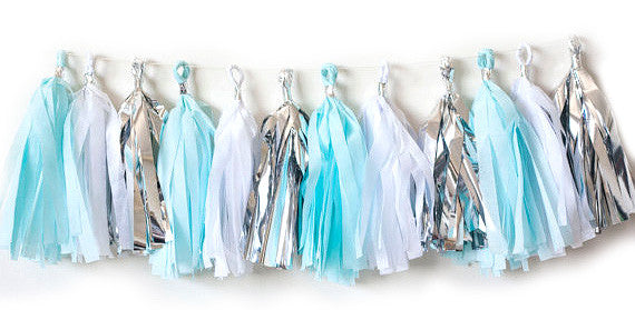 Party Decorations Set with Tassels, Confetti, Pom Poms in Blue, White, Silver - 21 Pieces