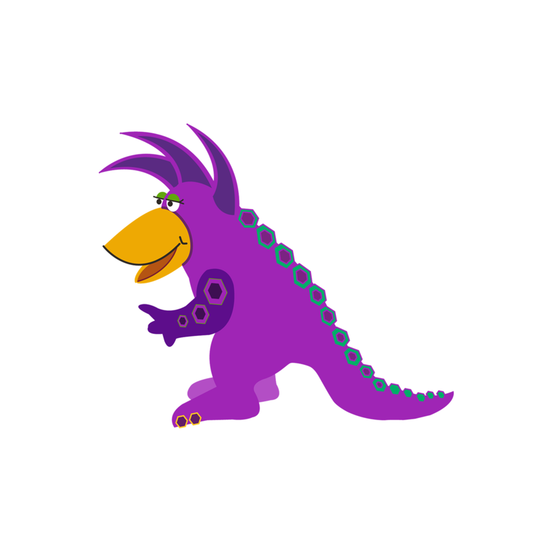 Dinosaur Stickers - Purple Buzzlewic Dino Vinyl Die Cut