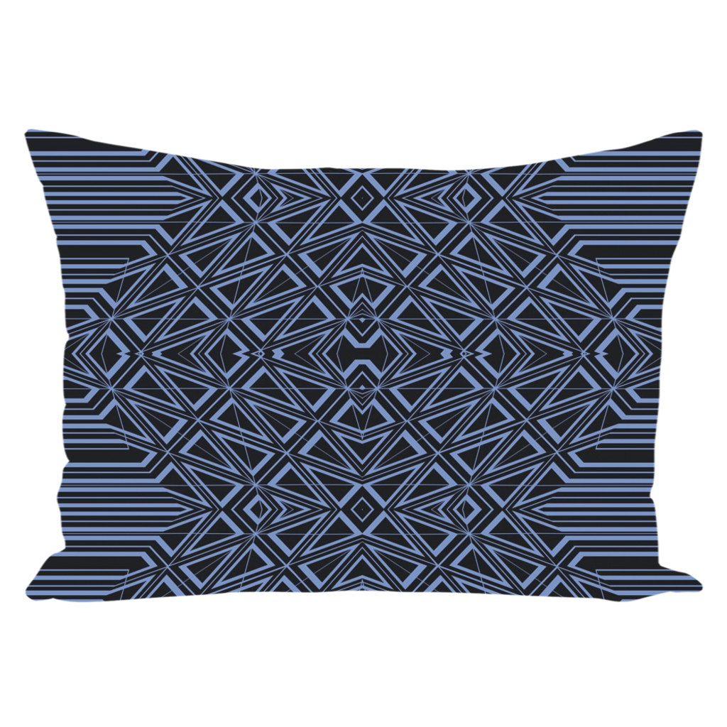 Throw Pillow Geometric in Blue & Black for Sofa Couch or Bed for Living Room Bedroom or Family Room