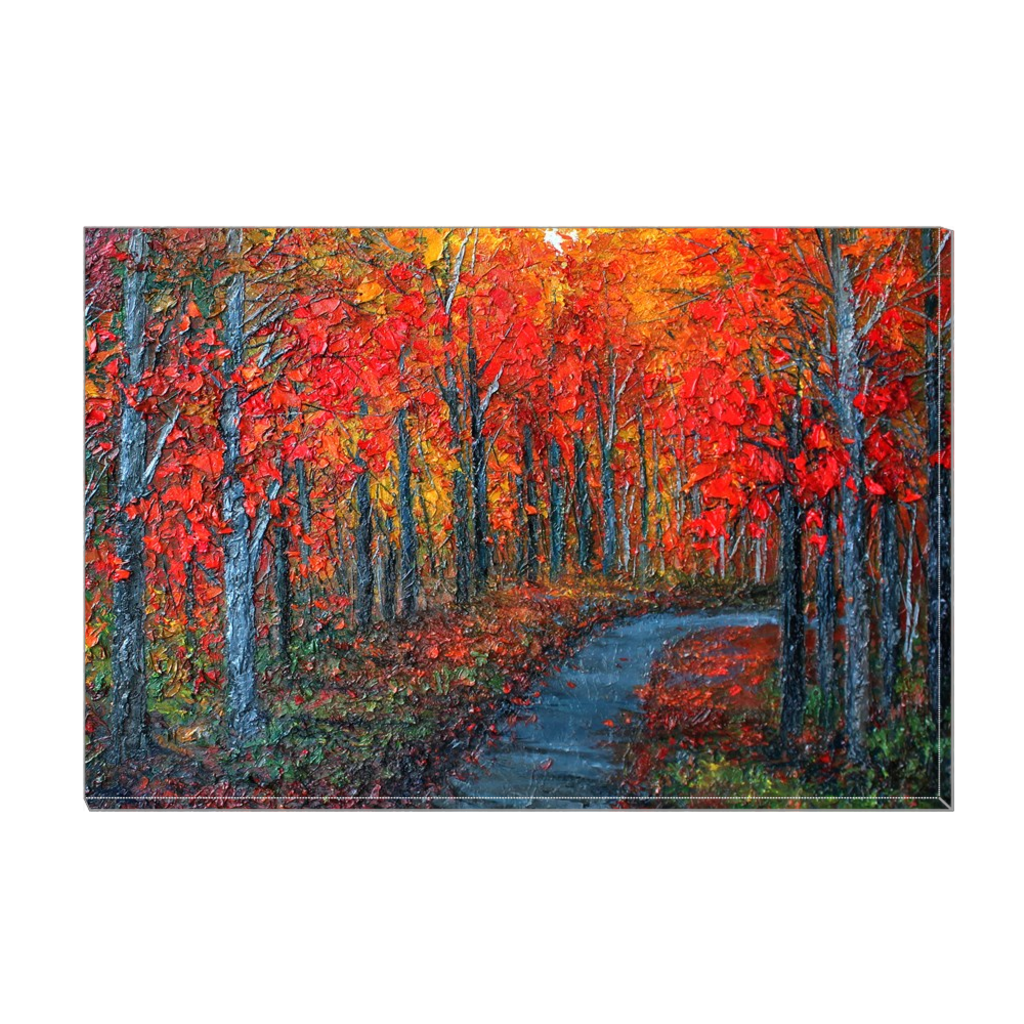 Wall Art Featuring an Original Oil Painting Printed on Canvas - Fall Trees