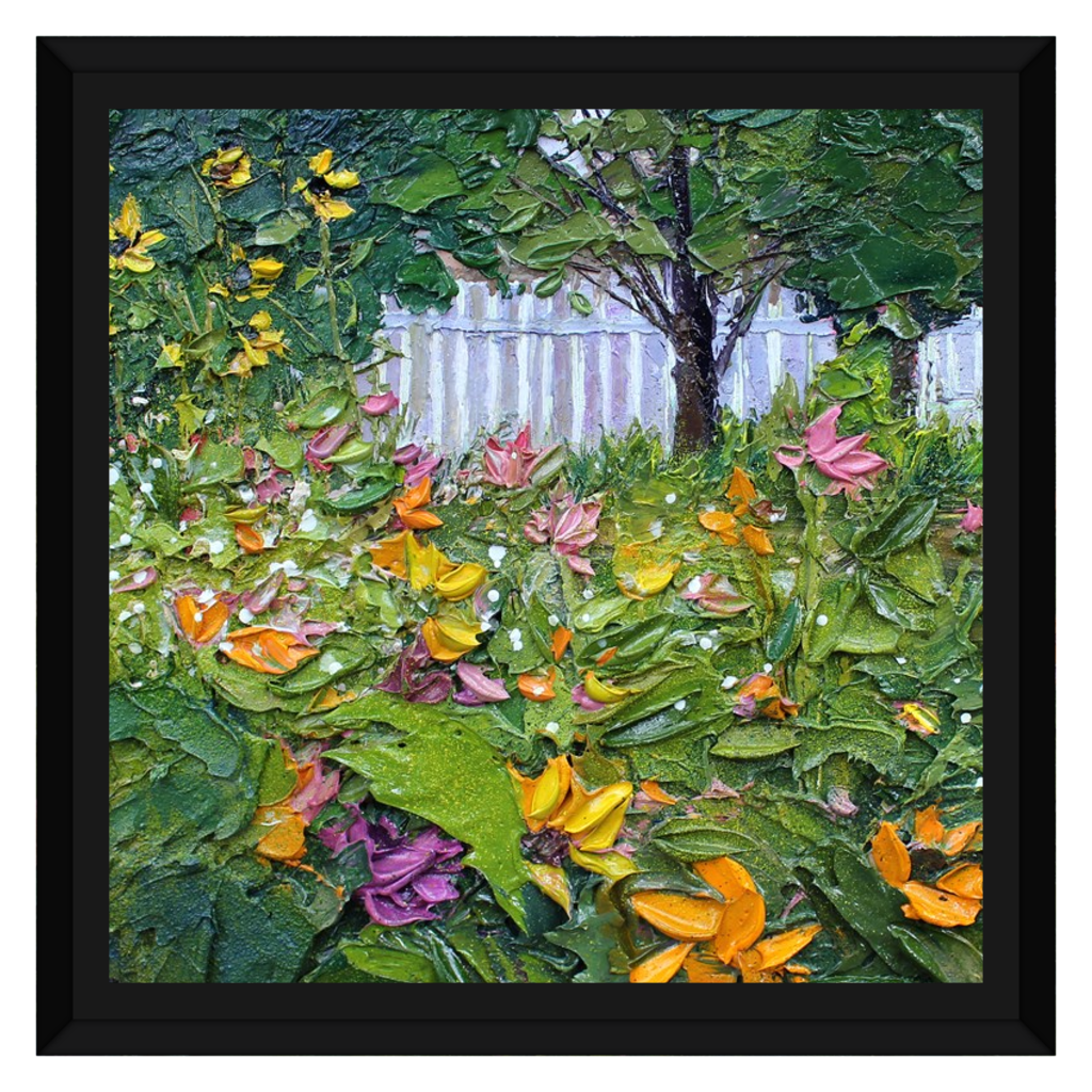 Wall Art Featuring an Original Oil Painting Printed on Framed Canvas - Summer Garden