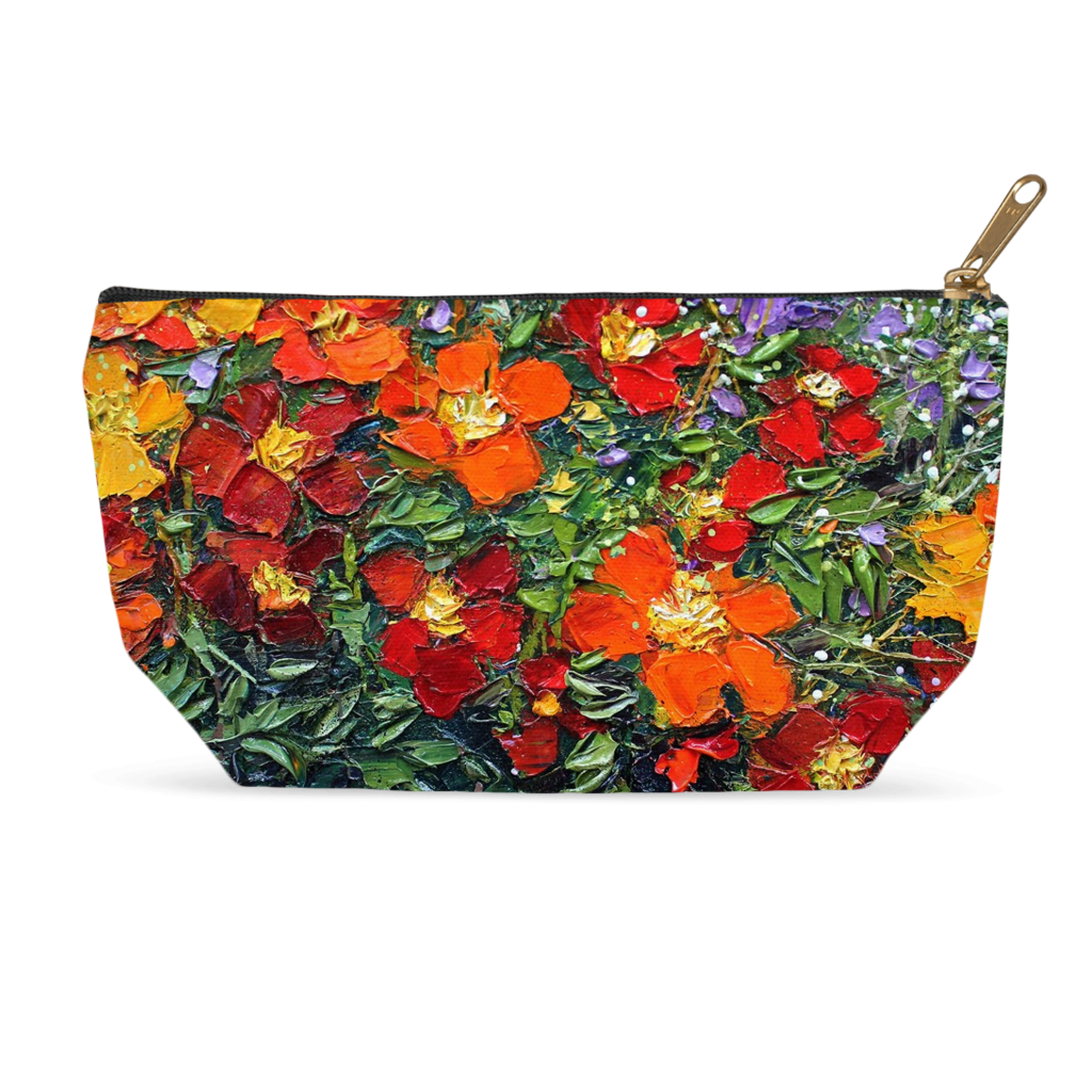 Accessory Pouch in Red Flower Design for Cosmetics Makeup Bag Travel or Pencil Case