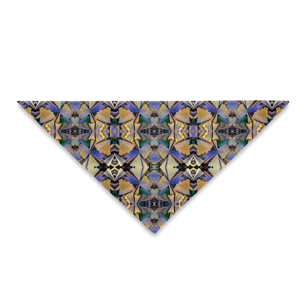 Bandanas for Your Hair, Outfit or Your Dog in a Unique Blue & Bronze Print Design