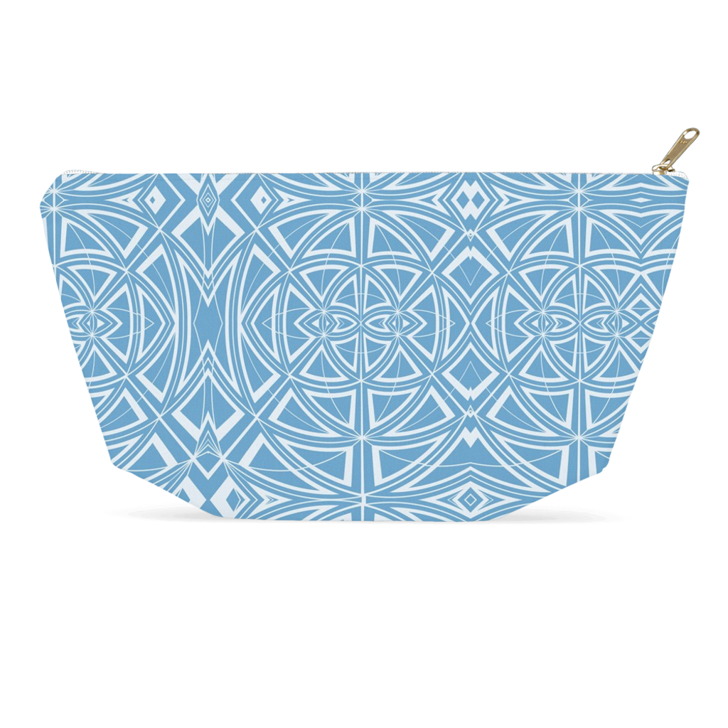 Accessory Pouch in Blue Geometric Design for Cosmetics Makeup Bag Travel or Pencil Case