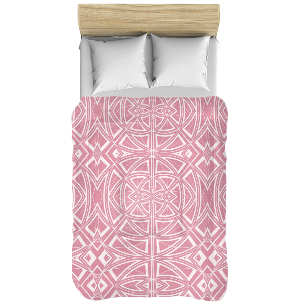 Comforter in Pink & White Geometric Contemporary Modern Design for Your Bedroom
