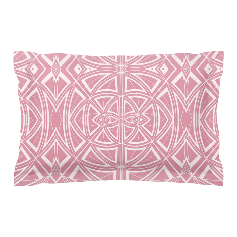 Pillow Sham in Pink & White in a Geometric Contemporary Modern Design for Your Bedroom