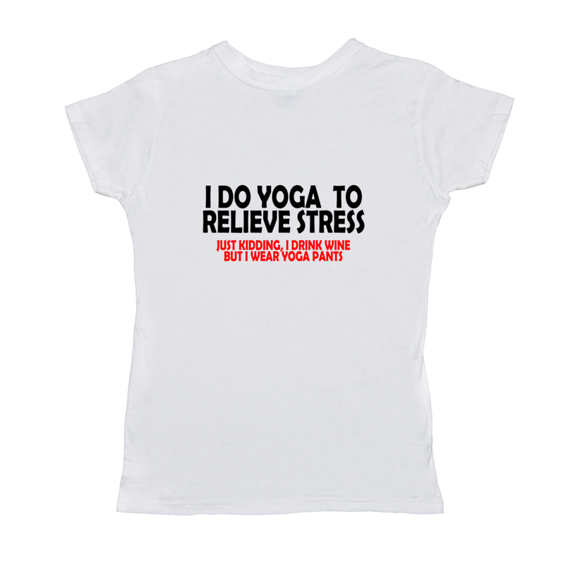 Funny Yoga Wine Womens T-Shirt Ladies Women's Short Sleeve Tee