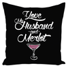 Throw Pillow Funny Wine Saying in Black for Sofa Couch or Bed for Living Room Bedroom or Family Room