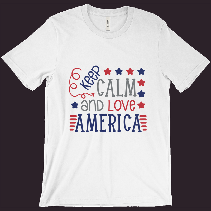 Patriotic Shirt, Keep Calm T-Shirt,Love America, Red White Blue, 4th Of July Shirt, Women's Patriotic Tee,Men's Patriotic Tee,Memorial Day