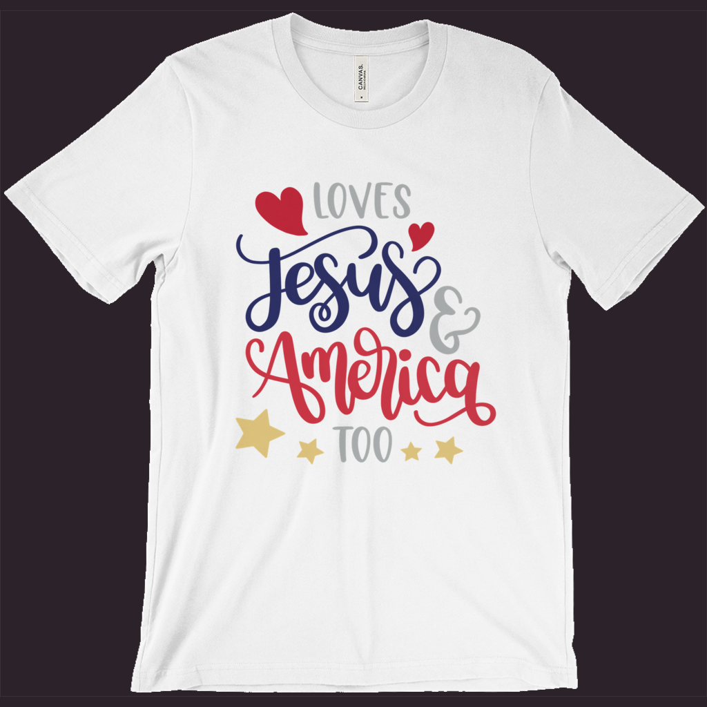 Christian T-Shirt, Patriotic Shirt, America Tee, Red White Blue, July 4th Shirt, Womens Patriotic Tee, Loves Jesus,Memorial Day, Jesus Shirt