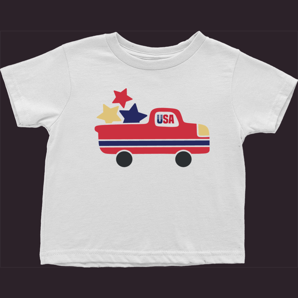 Toddler Truck T-Shirt, Patriotic Shirt, Baby Shirt, Patriotic Kids Tee, Boys T-Shirt, Size 2-3-4, 2 Year, 3 Year, 4 Year, Toddler Shirt, USA