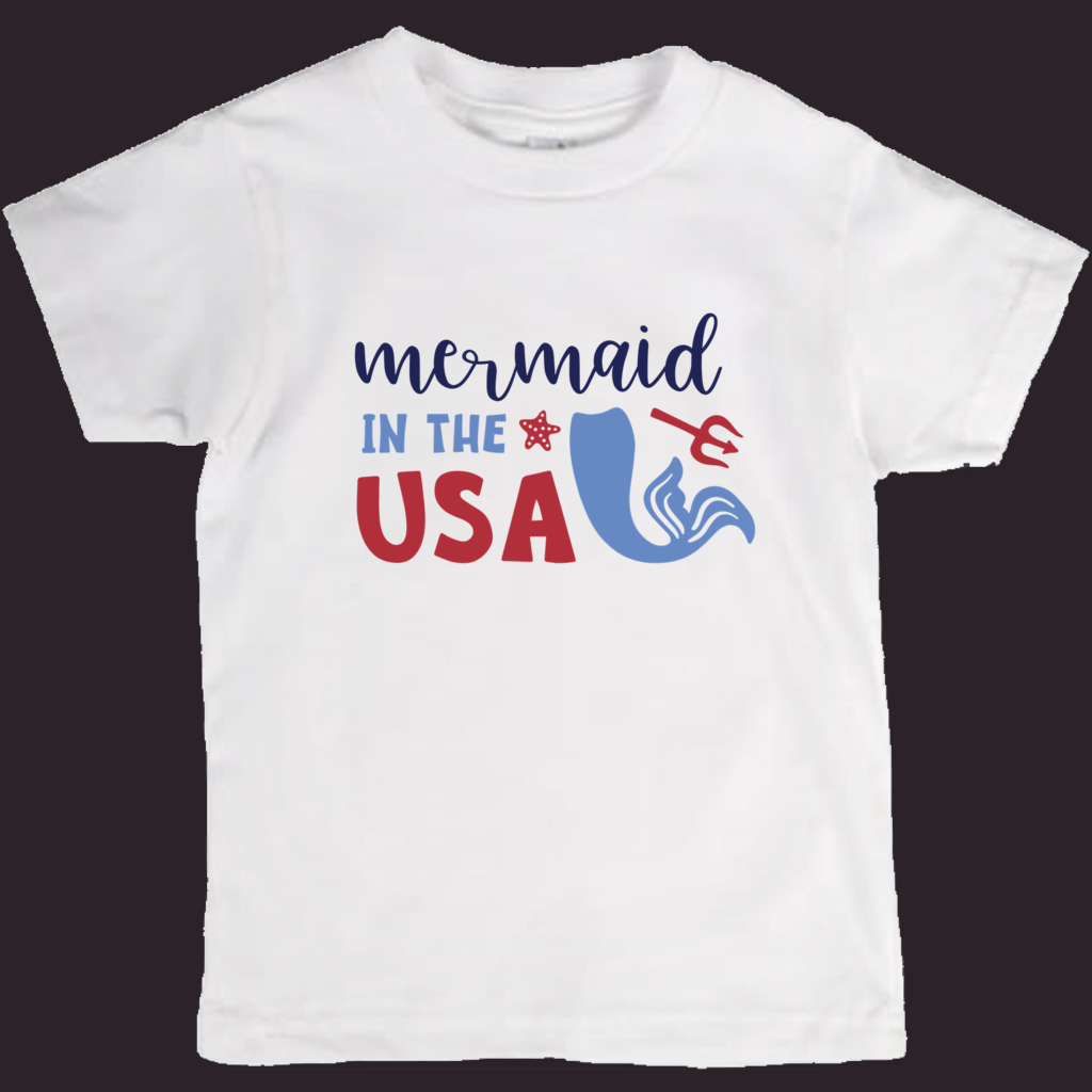 Kids T-Shirt, Mermaid Shirt, Patriotic Kids Tee, Girls T-Shirt, Mermaid Lover, Girls Mermaid, USA Tee, White Tee, S-M-L, Little Mermaid