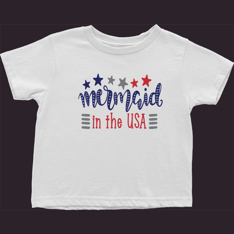 Toddler T-Shirt, Mermaid Shirt, Baby Shirt, Patriotic Kids Tee, Girls T-Shirt, Size 2-3-4, 2 Year, 3 Year, 4 Year, White Toddler Shirt, USA