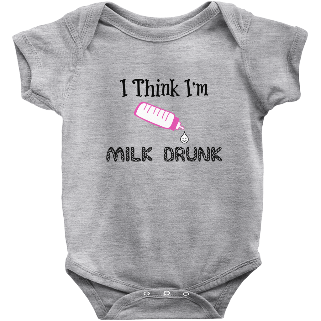 Onesie | Cute for Baby Girls | Funny Saying Milk Drunk | Grey Short Sleeve