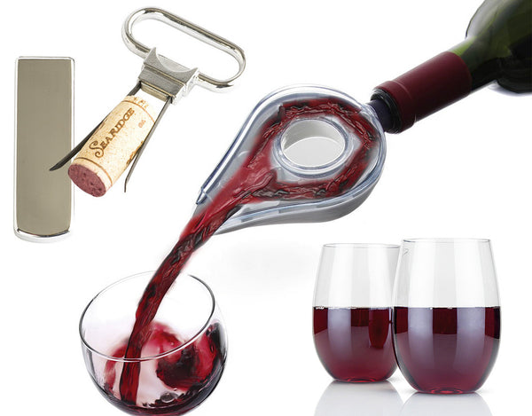 Best Wine Aerator, Wine Opener, Stemless Unbreakable Wine Glasses Gift Set of 4