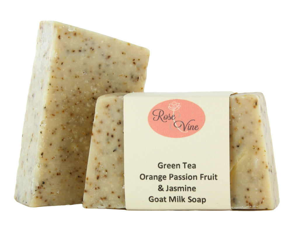 Goat Milk Soap Handmade USA (2 Bars, Green Tea, Orange Passion Fruit & Jasmine)