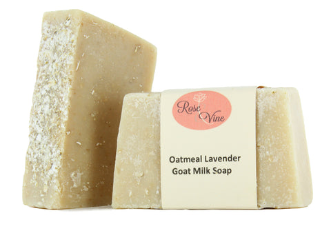Goat Milk Soap Handmade USA Natural (2 Bars, Oatmeal Lavender)