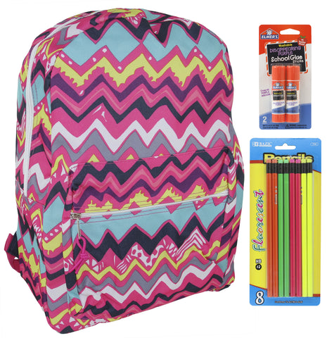 Pink Chevron Backpack School Bags for Girls + Free School Supplies for Kids