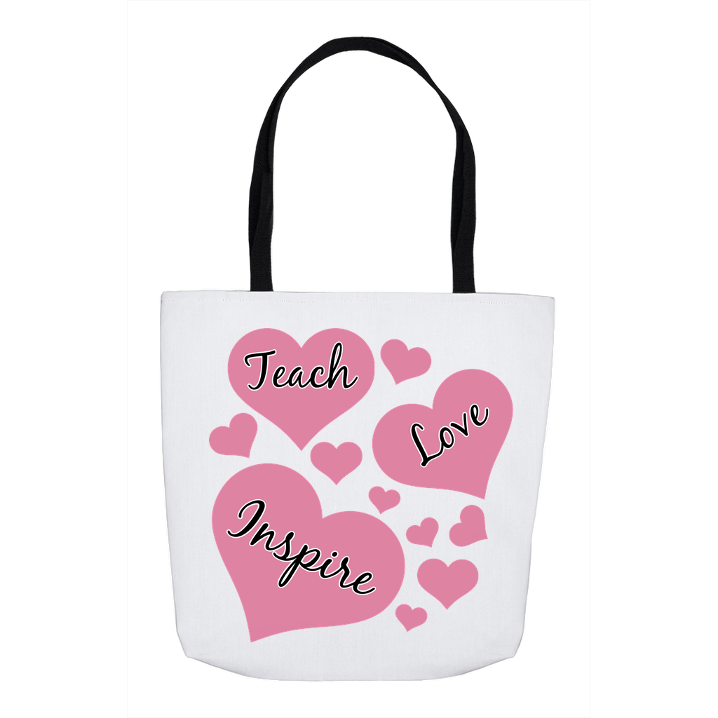 Valentine's Day Totes for Teacher with Pink Hearts Teacher Tote Bag Gift