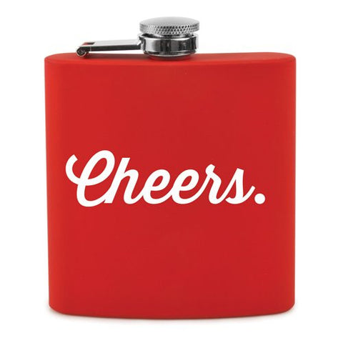 Cheers Flask by True Fabrications, Soft Touch, Red