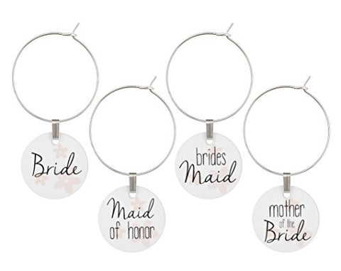 Wine Glass Charms for Wedding Bridal Party Set