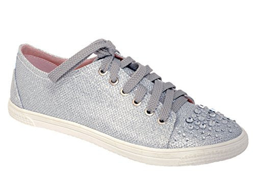Your Party Shoes Lexi Silver Glitter Fashion Sneakers