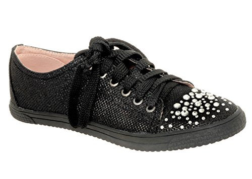 Your Party Shoes Lexi Black Glitter Fashion Sneakers