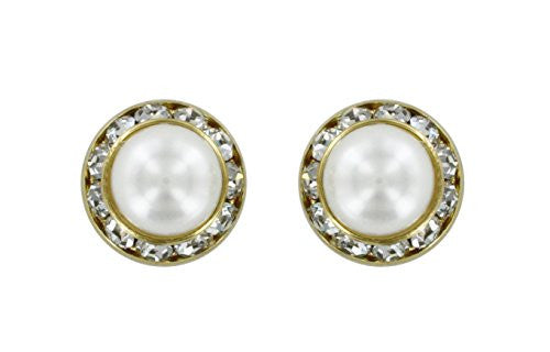 Earrings - Gold Stud Rhinestones and White Pearl Dome
