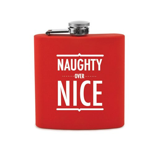 True Fabrications Naughty Over Nice Flask, Red/White