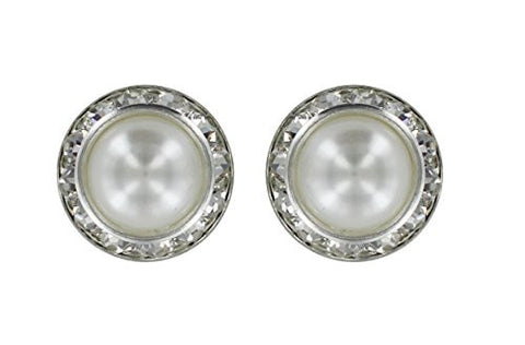 Earrings - Silver Stud Rhinestones, White Pearl Dome