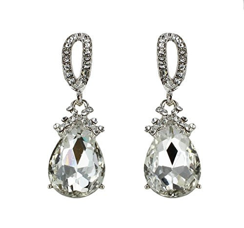 Dangle Drop Jewelry Earrings Silver Crystal Rhinestone Prom or Pageant